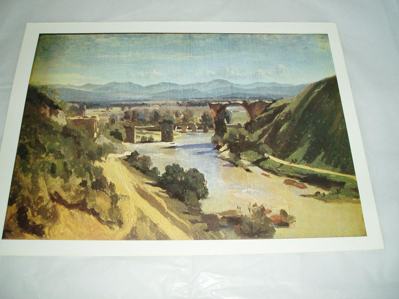 vintage art print poster , Jean Baptiste Camille Corot , La Pont A ...