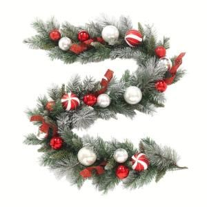 Home Accents Holiday 6 Ft Flocked Pine Garland With Red And White Balls 2321210hd At The Home Depot Mobil Pine Garland Christmas House Christmas Decorations