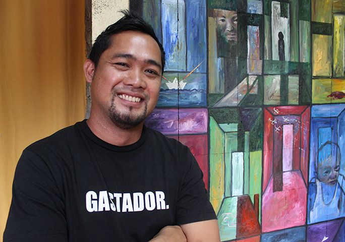 Michael Bacol, in his studio, Cagayan de Oro, Mindanao