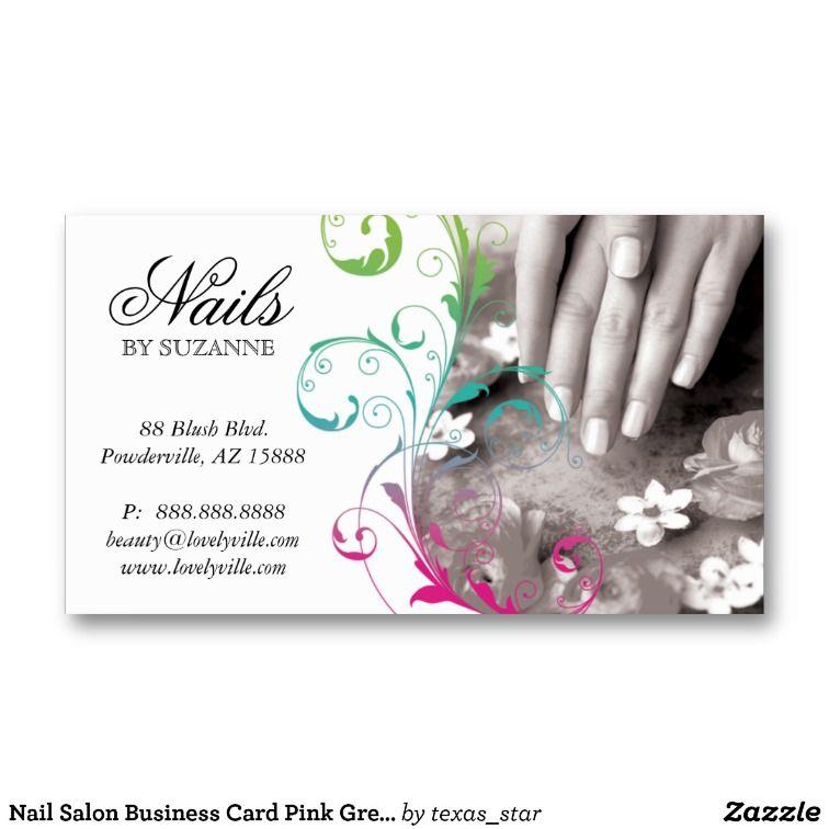 Nail Salon Business Card Pink Green | Salon ideas | Pinterest ...
