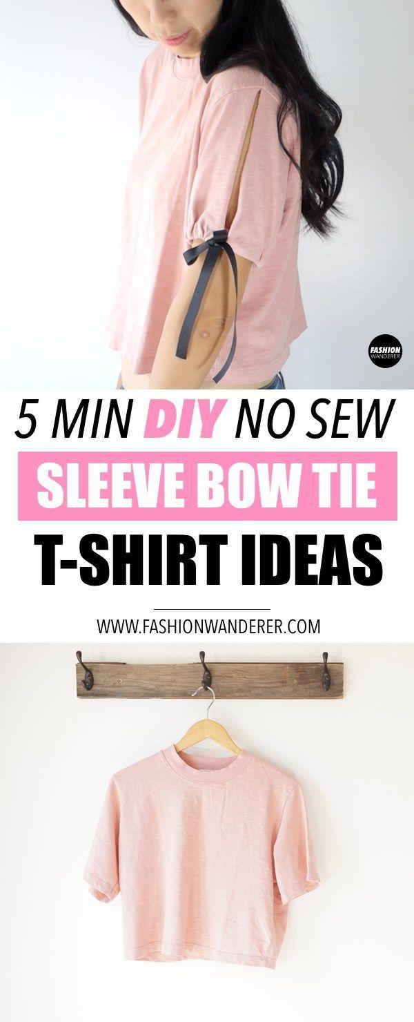 Diese Ärmel Fliege T-Shirt Refashion Ideen ist die beste 5 min DIY nicht nähen überhaupt! L #nosewshirts