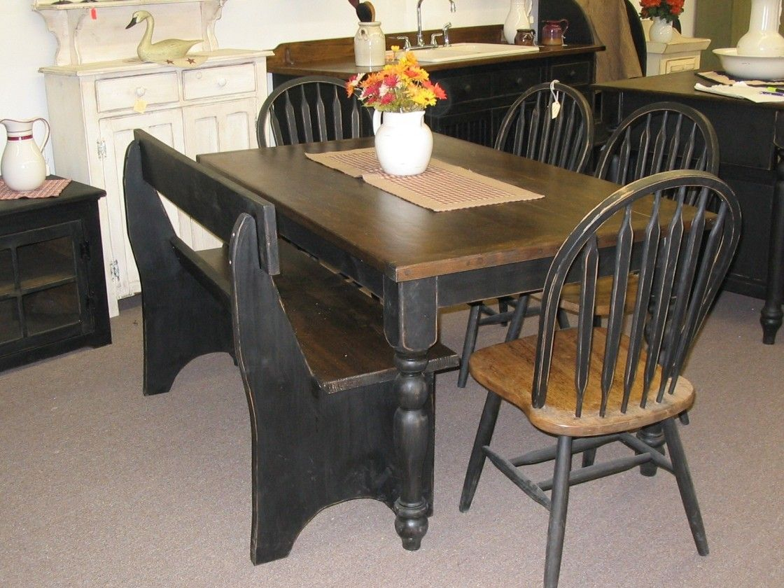 Inexpensive Rustic Home Dining Room Furnishing With Brown And Black Painted Wooden Table Turned Legs Completed