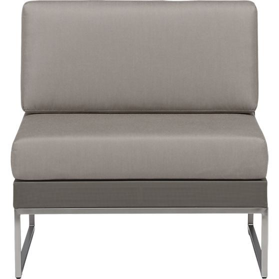 Dune Sectional Armless Chair with Sunbrella® Taupe ... on Dune Outdoor Living id=80360