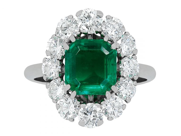 b8714584 Mellerio dits Meller Emerald and Diamond Ring in Pla #505395 ...