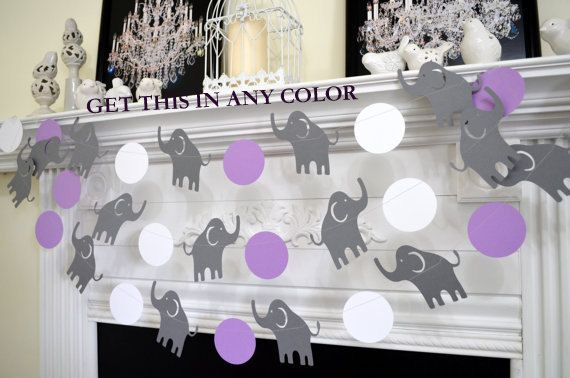 Exceptional Elephant Garland, Baby Shower Decorations, Elephant Wall Art, Nursery  Decoration, Purple Grey