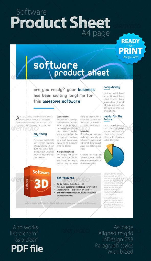 Software Product Sheet A4 A4 Brochures And Brochure Template