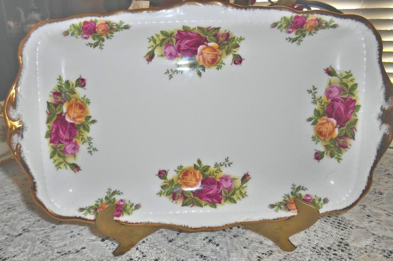 Royal Albert Bone China Old Country Roses Sandwich Plate Tray Etsy In 2020