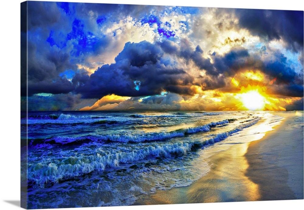 Ocean Sunset Landscape Beautiful Beach Sunrise Beautiful Beaches Sunset Landscape Beach Canvas Wall Art