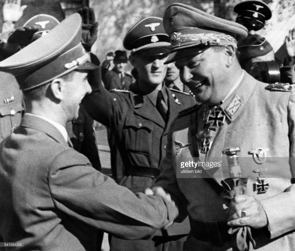 Hermann Goering welcomes Joseph Goebbels during a mass rally on the occasion des Erntedankfestes Sports Palace in Berlin