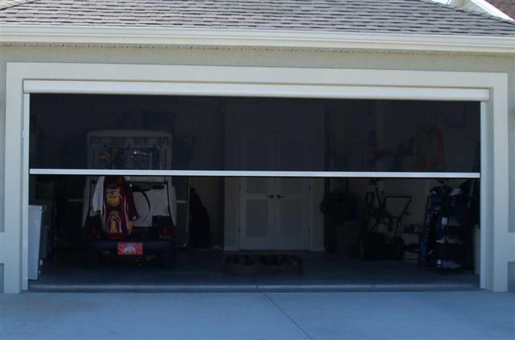 Phantom Executive Power Screen With Super Screen On Garage Door Garage Door Sizes Custom Garage Doors Garage Screen Door