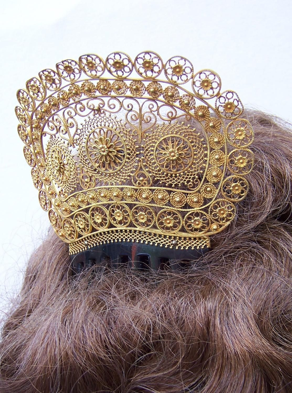 Georgian Hair Comb Spanish Mantilla Style Gilt Filigree and from spanishcomb on Ruby Lane