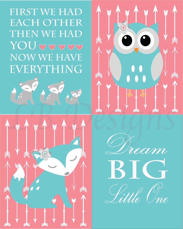 Coral And Teal Baby Girl Woodland Nursery Print Boho