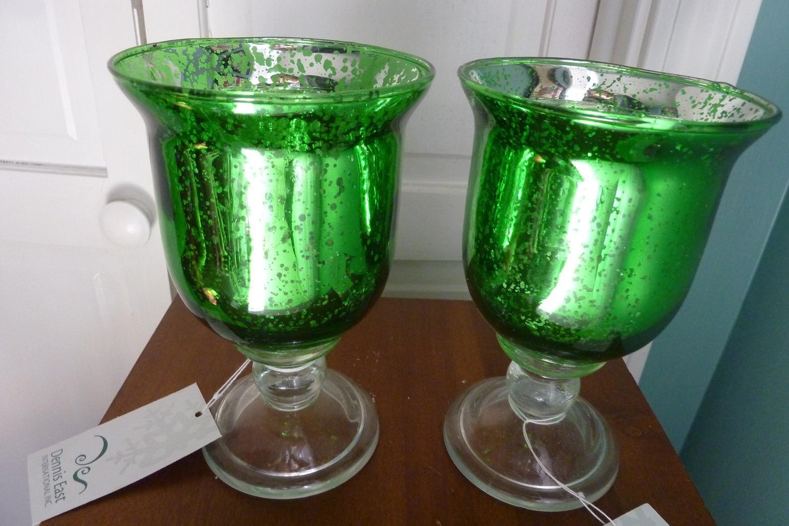 Set Of 2 Green Mercury Glass Pedestal Goblet Style Candle Etsy Mercury Glass Candle Holders Mercury Glass Glass