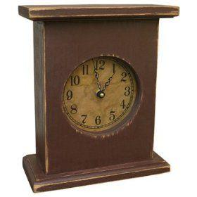 Wood Mantel Clock Primitive Country Rustic Rustic Clock Rustic Mantel Mantel Clock