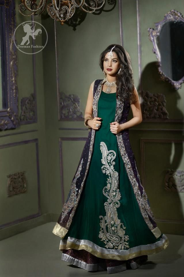 Bottle Green Front Open Gown Style Long Dress | Bridal Collection ...