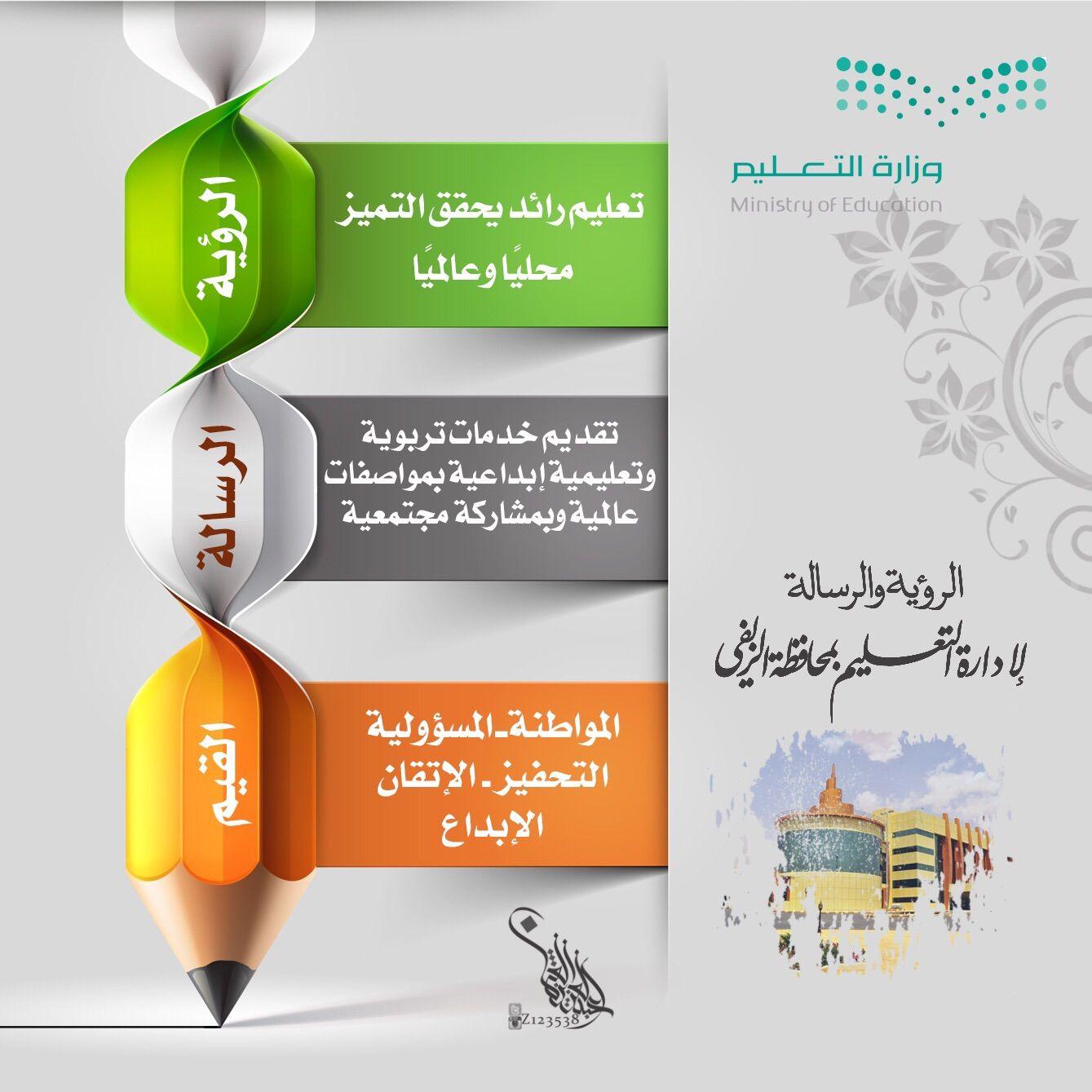 تعليم الزلفي يعتمد رؤية ورسالة الإدارة للعام الحالي شبكة سما الزلفي Ministry Of Education Education