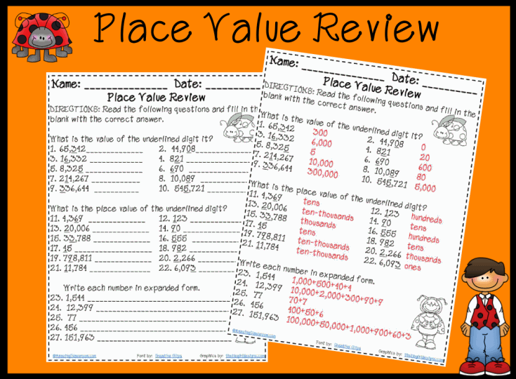 Free Worksheets place value review worksheet 2nd grade : place value worksheets third grade - laveyla.com