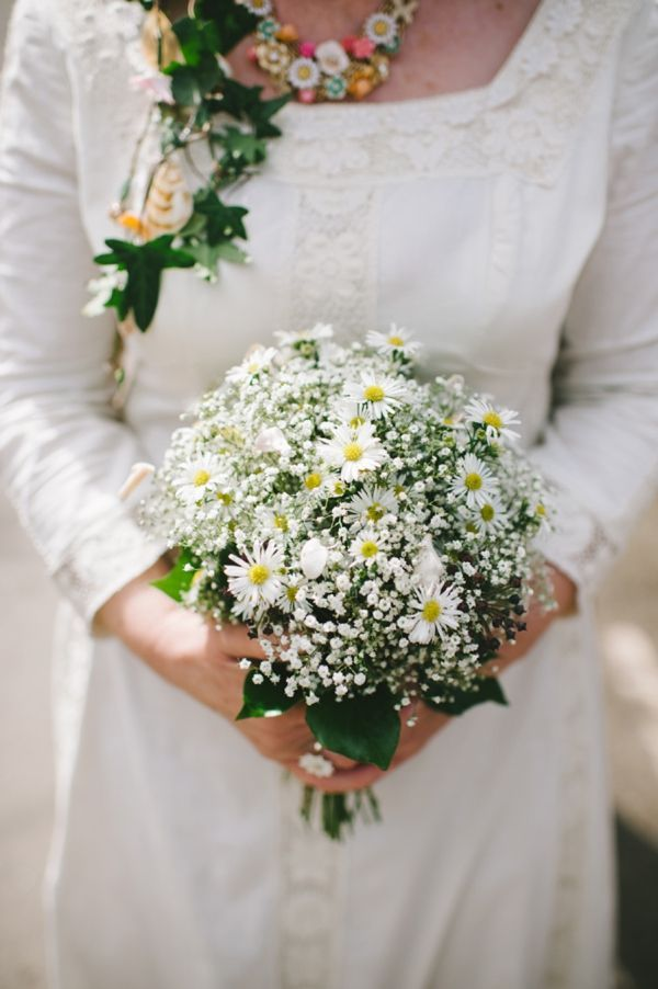 Lovely Bridal Bouquet Comprised Of White Gypsophila Yellow