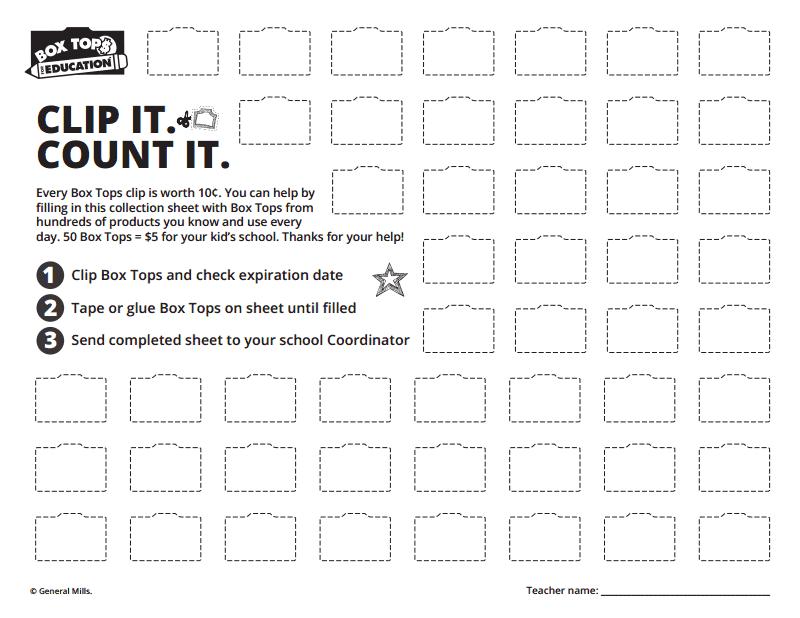 photograph about Box Top Printable Sheet named Box Tops Choice Sheet Btfe collectio. PTA Box supreme