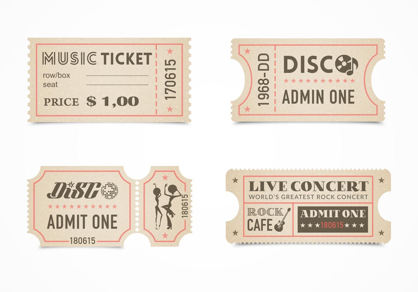 Free Retro Concert Ticket Stub Vector Set Ticket Design Ticket Template Free Ticket Template Template for tickets with stubs