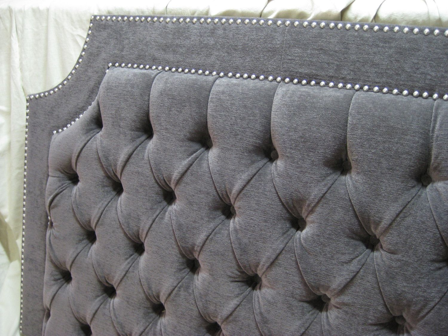 Gray Tufted Upholstered Headboard with Nickel Nailheads | DIY ...