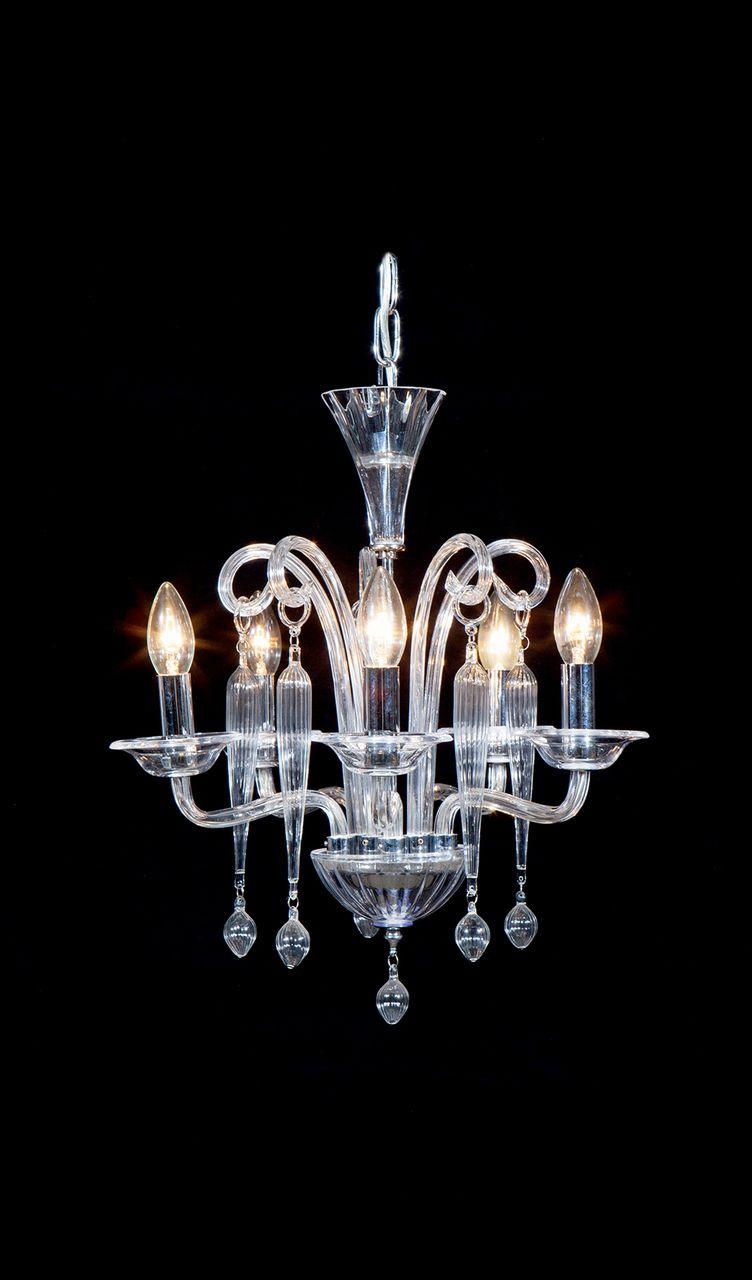 Venetian Glass Piccolo Clear Italian Art Deco Chandelier