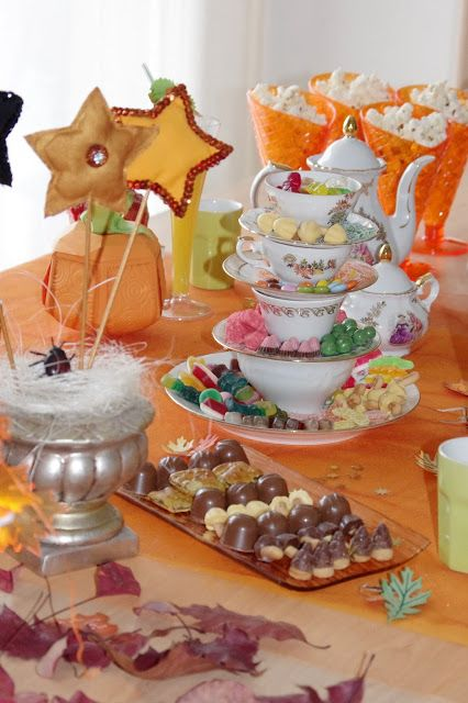 Halloween table setting for Witches Tea Party