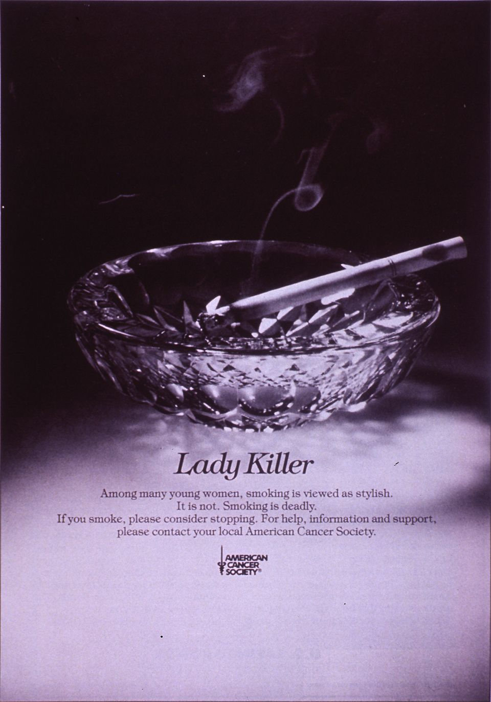 """1986 poster from the American Cancer Society - """"Lady Killer"""""""