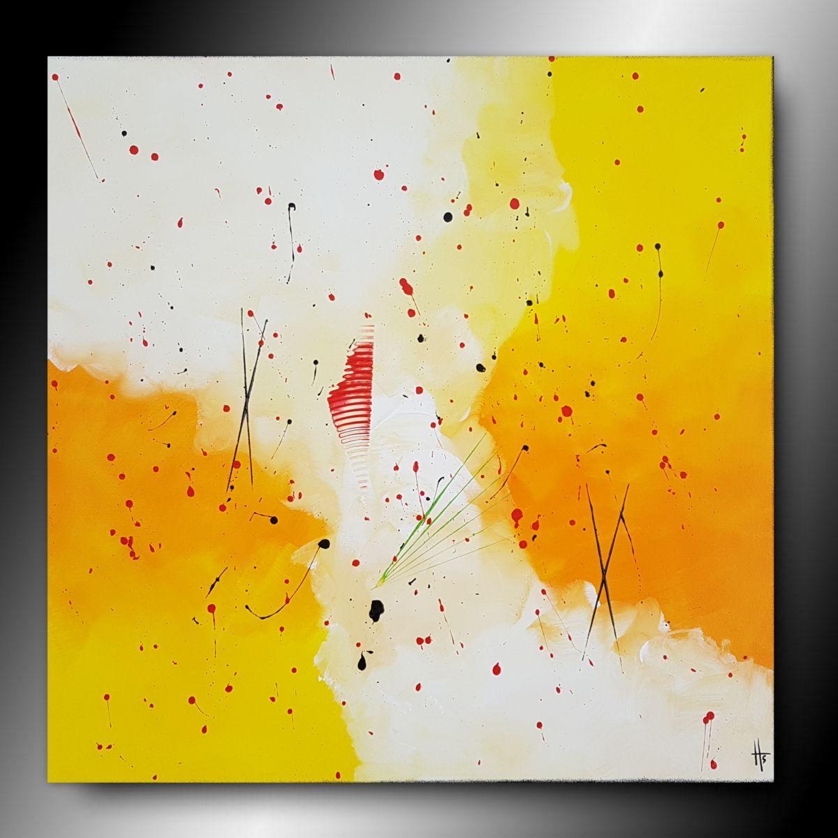 Tableau Peinture Abstraite Ambre Peinture 60x60x2 Cm C 2018 Par Sandrine Hartmann Art Ab Peinture Abstraite Abstrait Peinture