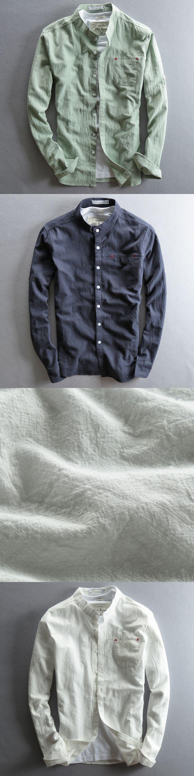 5400c72ccc8 Men White Linen Shirt Stand Collar Chinese Traditional Mandarin Collar  Cotton Dress Shirt Long sleeve Linen