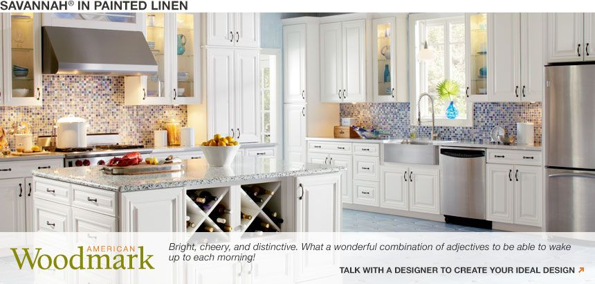 American Woodmark Cabinets  Savavannah In Painted Linen