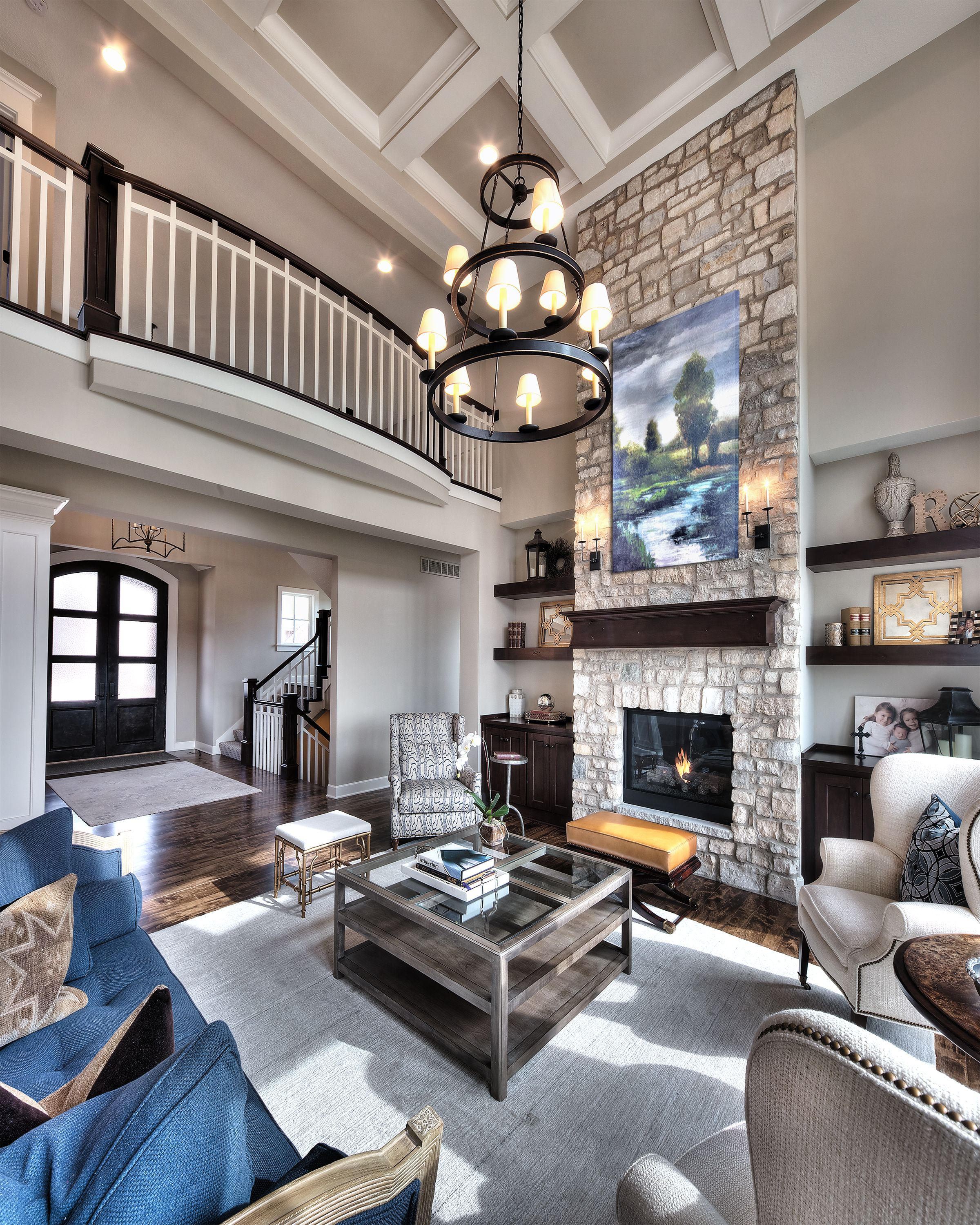 Great Room Open Floor Plan Floor To Ceiling Stone Fireplace Overlook From Upper Level High Ceiling Living Room Family Living Room Design Family Living Rooms