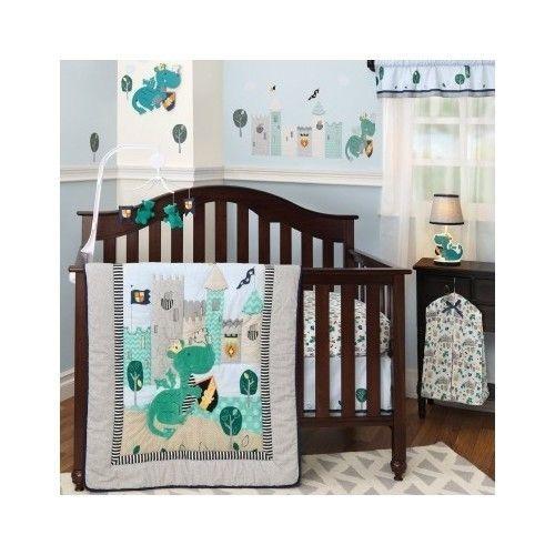 Crib Set Baby Infant Bedding Sparky Dragon Nursery Sheet Comforter