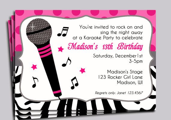 Karaoke Party Invitation Printable Sing By ThatPartyChick On Etsy 1500