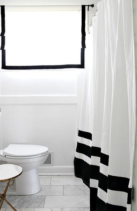 Black And White Color Block Shower Curtain Transitional Bathroom