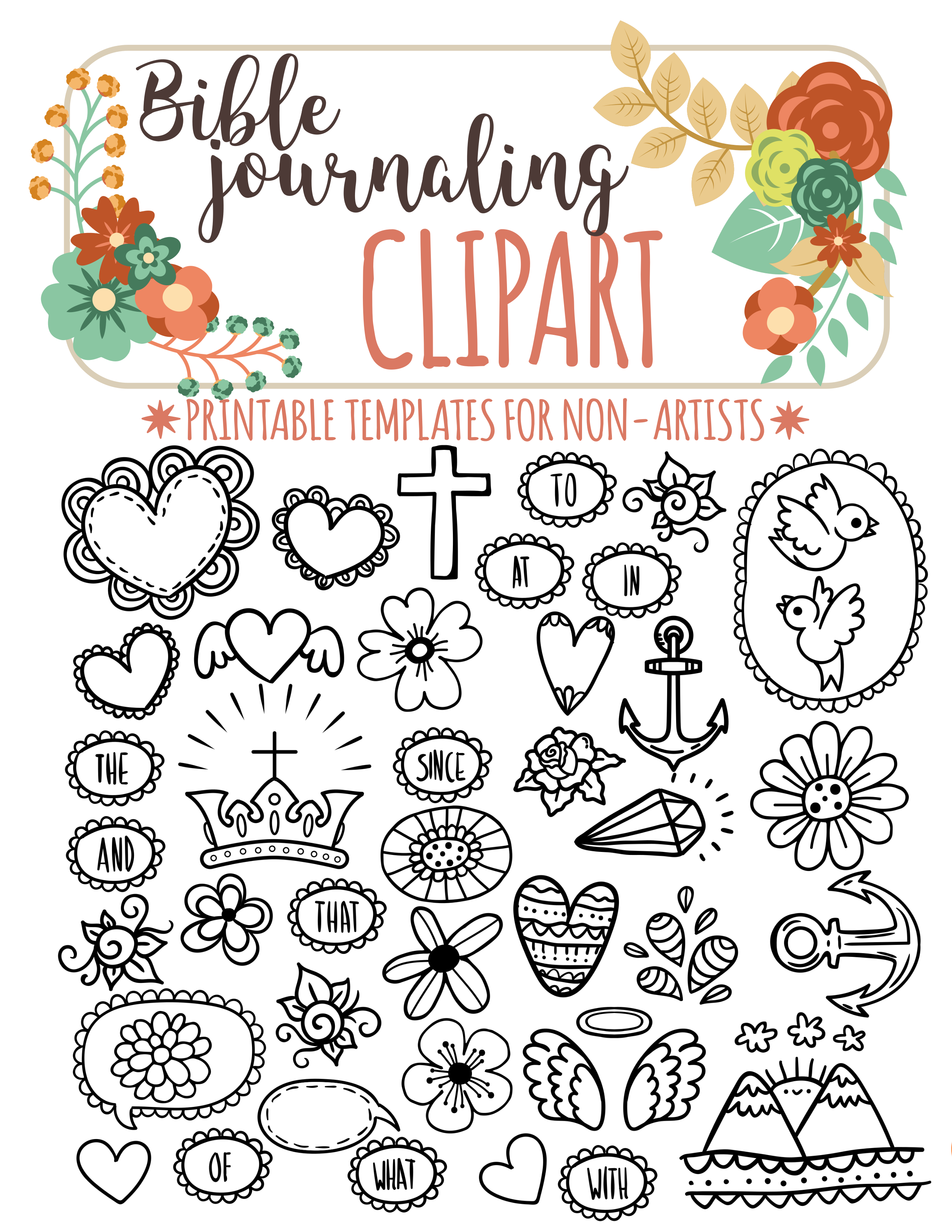 40 PRINTABLE TEMPLATES for bible journaling verse art ...