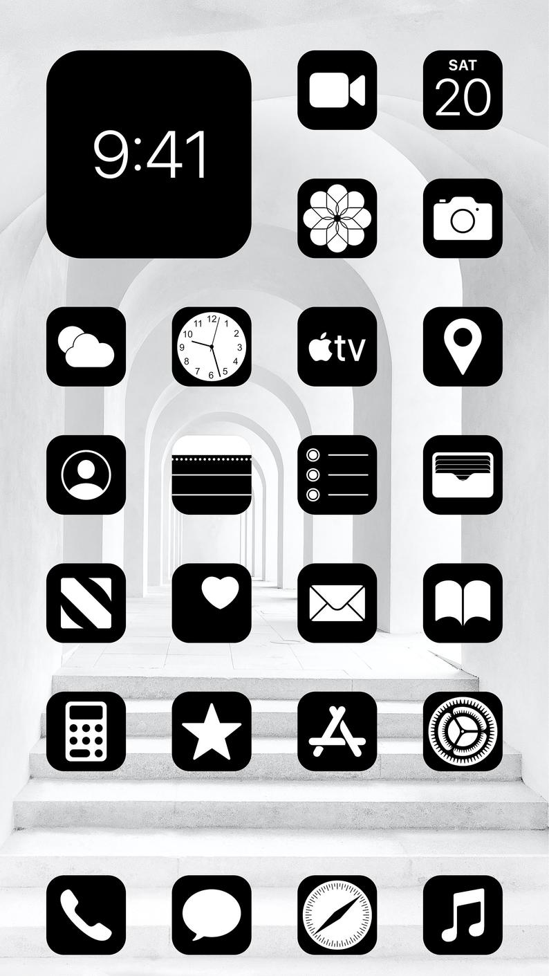Aesthetic Black iOS 14 App Icons Pack - 108 Icons