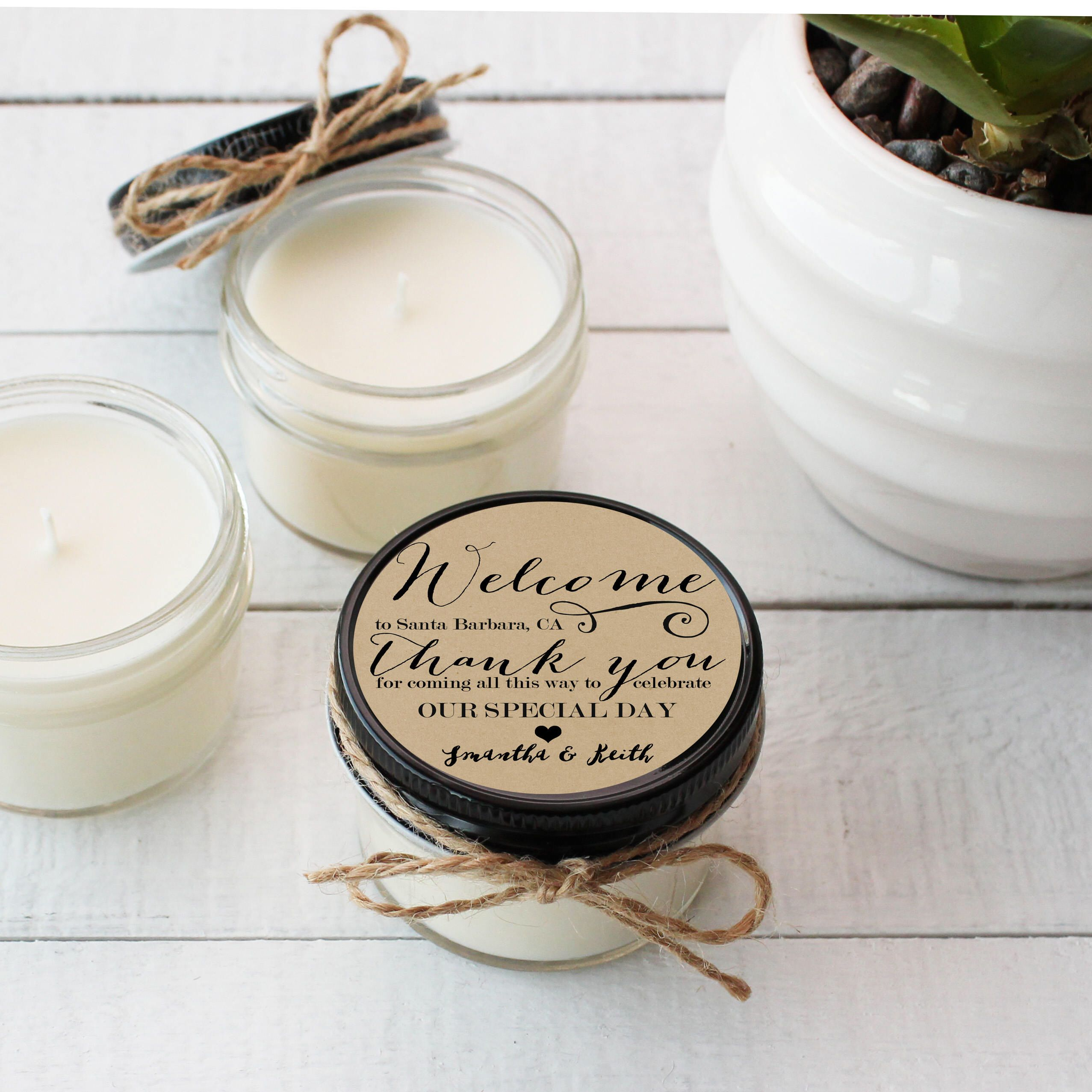 Wedding Favor Candles Welcome Label Design Thank You Etsy Candle Wedding Favors Soy Candle Favors Candle Favors