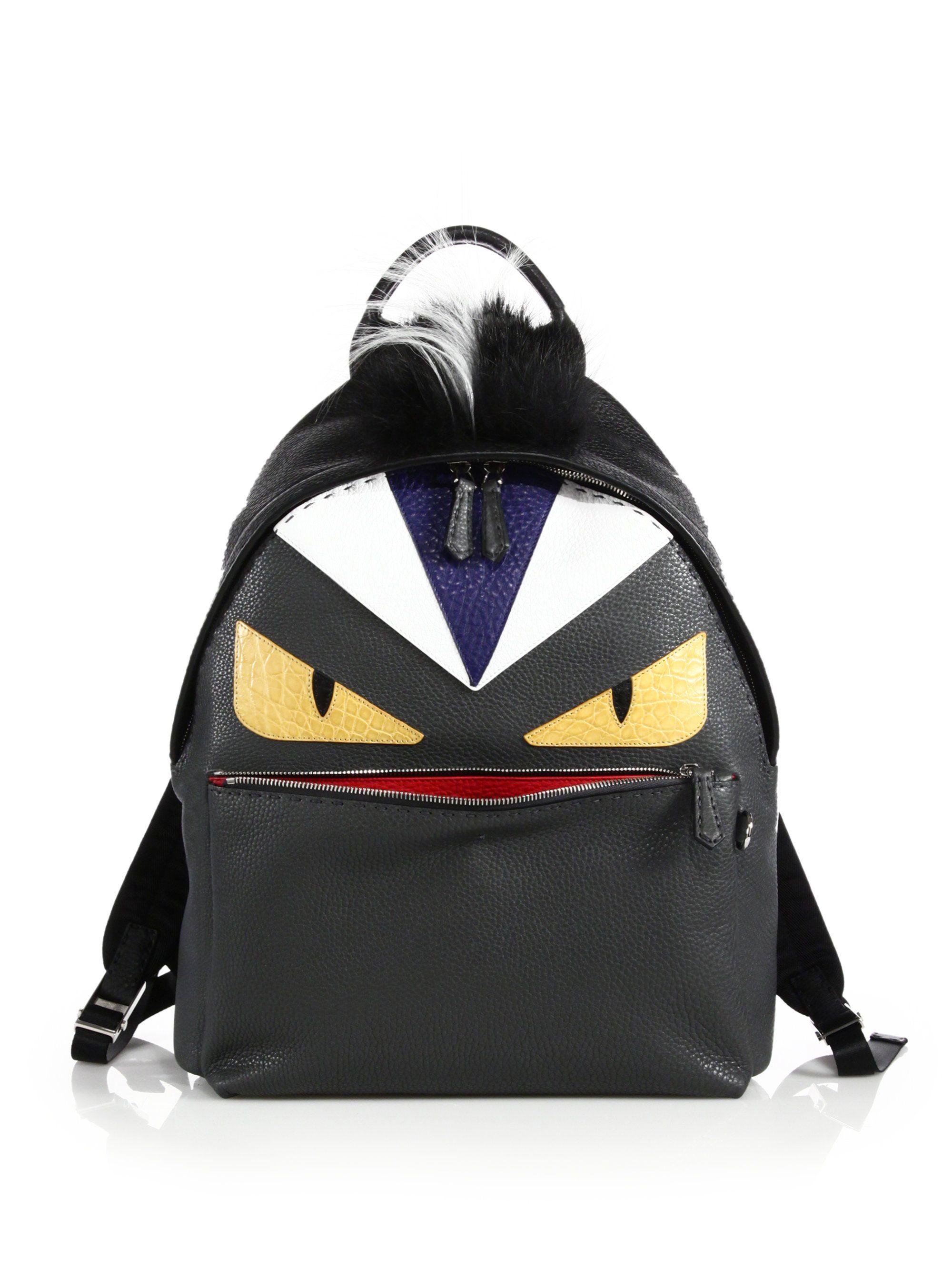 Fendi Leather Monster Backpack  5293   Later   Pinterest   Fendi ... 3dda1e6b744