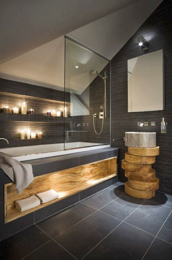 The Wood Accents Make This Bathroom Work. #bathroom Design #remodel Works  Www.remodelworks.com