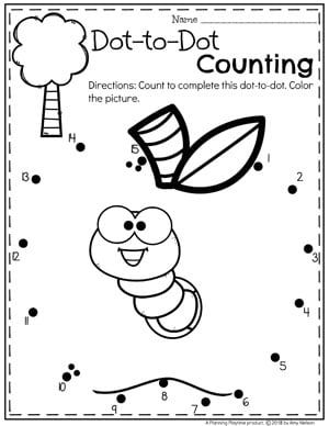 Preschool Apple Worksheets Dot to Dot Coloring Page #