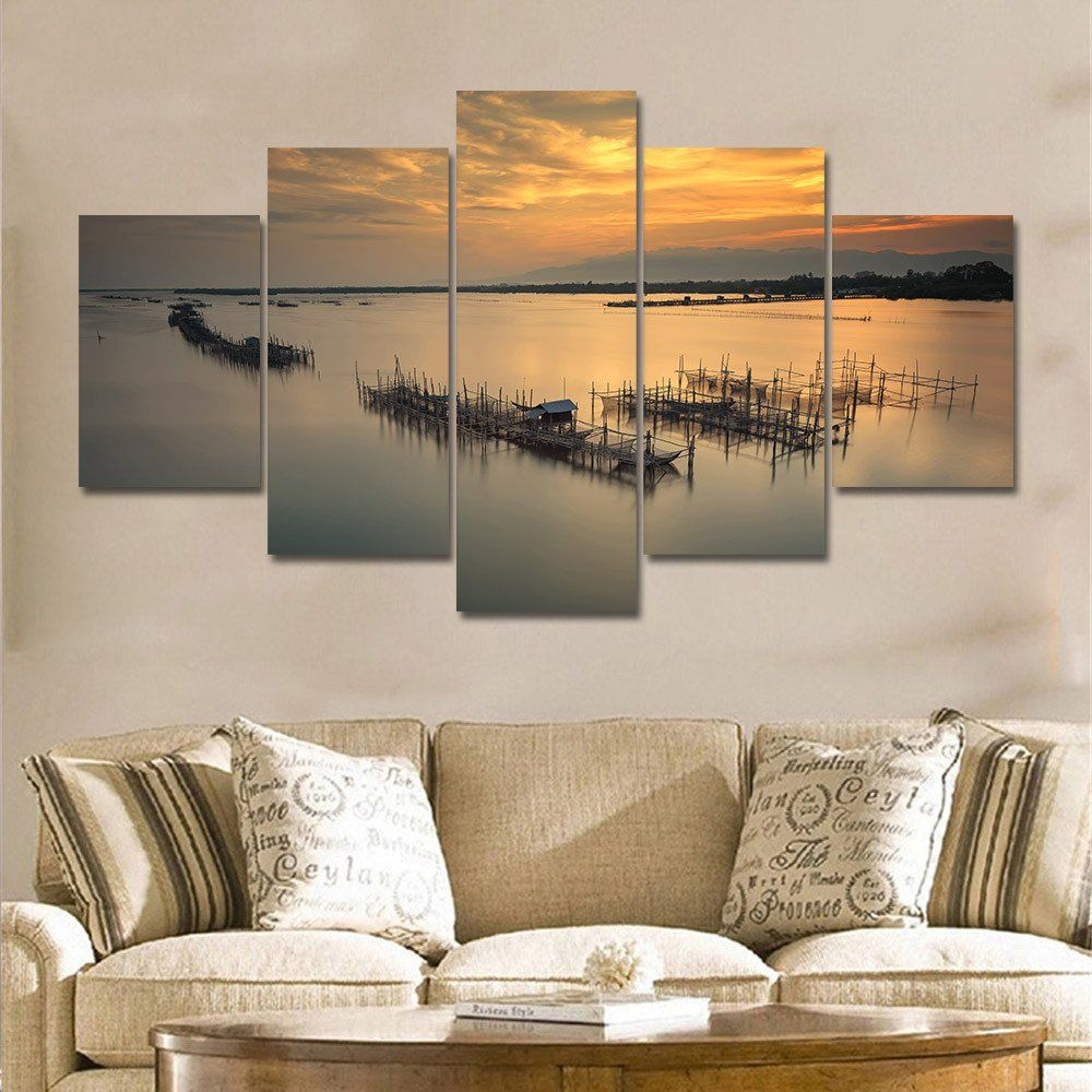 5 Pieces Modern Sunrise Sunset Seascape Wall Art Large Canvas