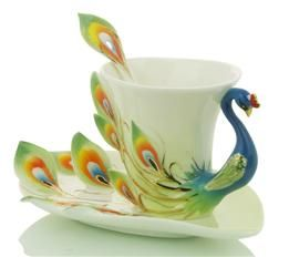 spectacular peacock tea cup