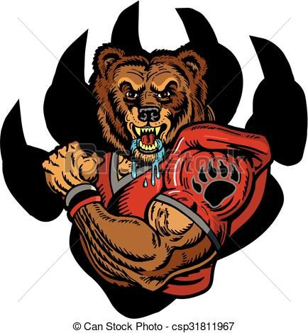 Clip Art Vector Of Grizzly Bear Football Player Team Design With Muscular Csp31811967 Search Clipart Illustr Bear Artwork Bears Football Bear Paw Tattoos