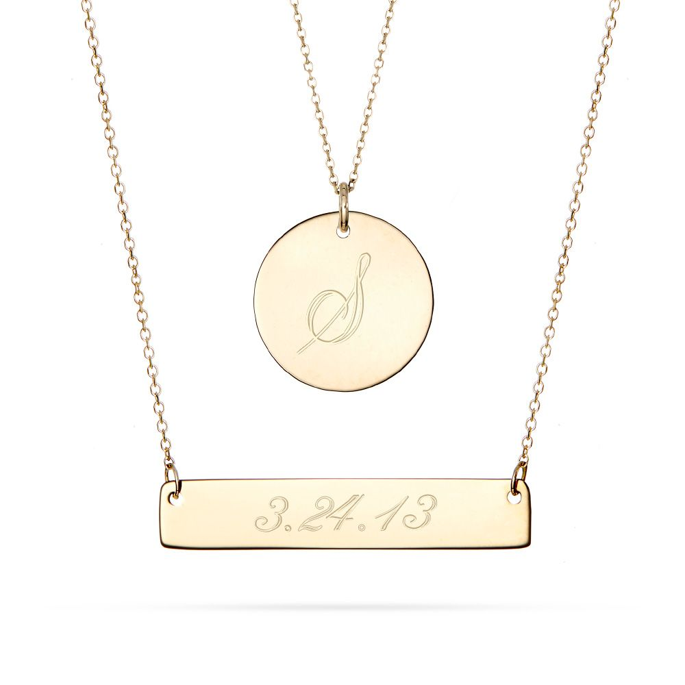 Layered 14k Gold Bar And Circle Charm Necklace The 14k Gold Bar Can Be Engraved With A Name Or A Gold Bar Necklace Engraved Bar Necklace Gold Diamond Pendant