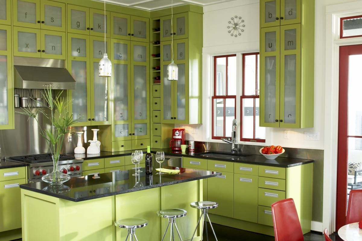 Superior Red And Green Kitchen Ideas Part - 11: Kitchen: COLOR Donu0027t Be Afraid Of It! Modern Island Style Red Kitchen, Green  Cabinets, Timothy McNamara, Other
