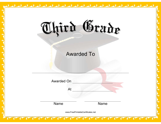 Certificate Borders Free Download Endearing This Mortarboard Grade 3 Certificate Features A Mortarboard Tassel .