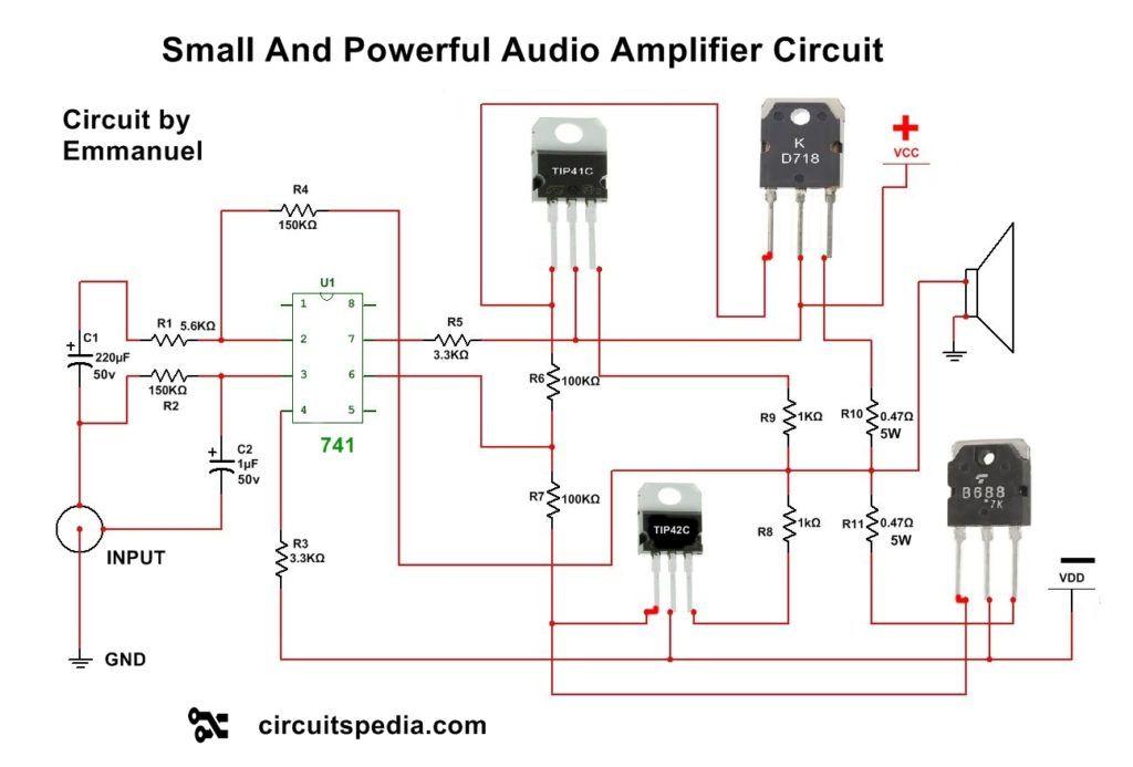 Audio Amplifier Circuit Using Transistors
