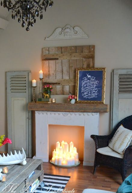 Homemade Fireplace Mantle With Faux Candles Who Needs A Real The Poor Sophisticate