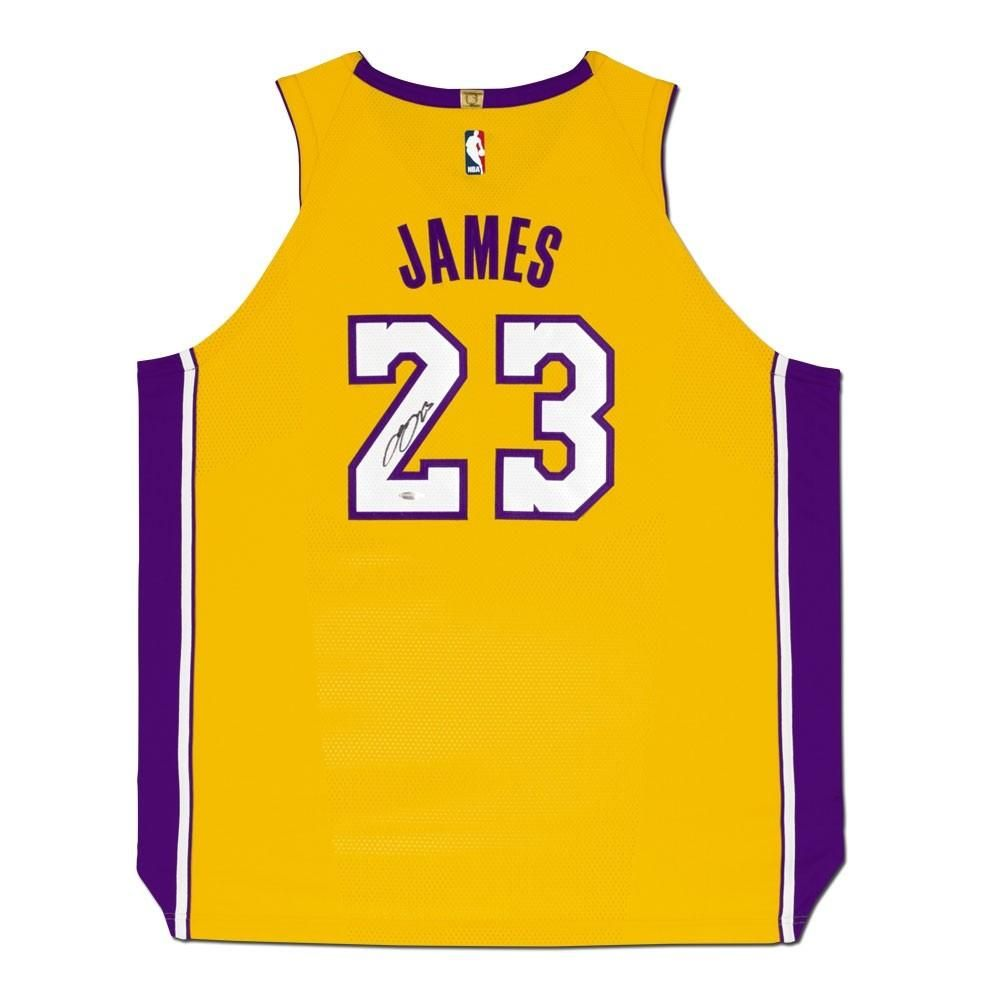 8fe804be6 LeBron James Autographed Los Angeles Lakers Gold Authentic Nike Jersey